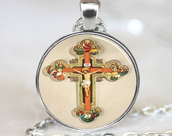 Crucifix  Pendant, Jesus Religious Photo Necklace, Silver Plated,  (PD0484)