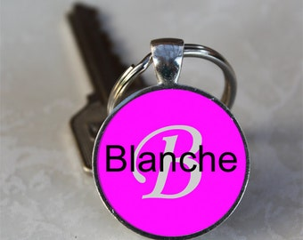 Blanche Name Monogram Handcrafted Glass Dome Keychain (GDNKC0340)