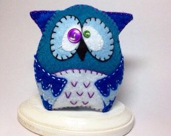 Handmade Felt Owl toy plush decor blue