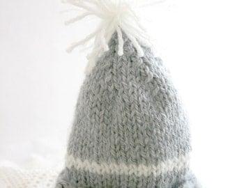 Soft Grey Knit Baby Hat- Hand Knitted- Beanie- Newborn Size Cap- Boy or Girl-  Gray, White Stripe, Pom Pom