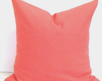 SOLID CORAL PILLOW.18x18 inch.Pillow.Decorative Pillow.Throw Pillow Cover.Housewares.Home Decor.Solid Pillow.Coral Pillow.cm.Coral.Solid