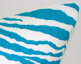 TURQUOISE PILLOW.12X18, 12x20, 12x22 or 12x24 inch.Pillow Cover. Decorative Pillows.Housewares.Turquoise Lumbar Cover.Cushion..Zebra.Blue.cm