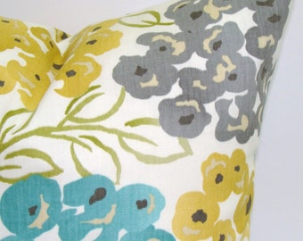 FLORAL PILLOW.12x16 or 12x18 inch.Housewares.Pillows.Flowers.Home Decor.Floral Slipcovers.Turquoise.Gold.Yellow.Gray.Cream.Green.Teal