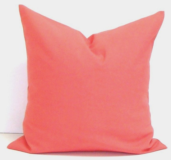 SOLID CORAL PILLOW.16x16 inch Chevron.Decorator Pillow Cover.Printed Fabric Front and Back.Coral.Solid