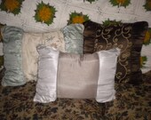 Lovely Set of 3 Satin and Embroidered Pillows, Eclectic, French Country, Modern