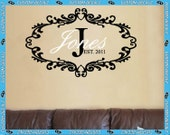 """32"""" x 21"""" Family Name and Initial with Year of Establish and Chic Frame  - Vinyl Wall Decalz"""