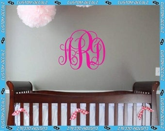 Personalized Monogram Vinyl Wall Decal / Nursery Decal / Girly Decal / Teen Wall Decal / Tween Decal / Large Wall Decal / Couples Decal