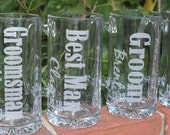 10 Personalized Groomsmen Beer Mugs, Etched Beer Mug.  Great Bachelor Party Idea,Groomsman,Best Man,Father of Bride,Father of the Groom Gift