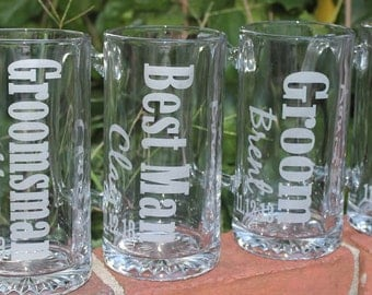 11 Personalized Groomsmen Beer Mugs, Etched Beer Mug.  Great Bachelor Party Idea,Groomsman,Best Man,Father of Bride,Father of the Groom Gift