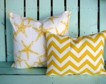 Set of 2 corn yellow, white sea friends starfish,chevron premier print cotton- Decorative pillow cover-throw pillow-accent pillow
