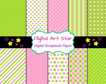INSTANT DOWNLOAD Digital Paper Pack - Personal and Commercial Use Papers Digital Scrapbooking - Light Pink and Lime Polka Dots and Stripes