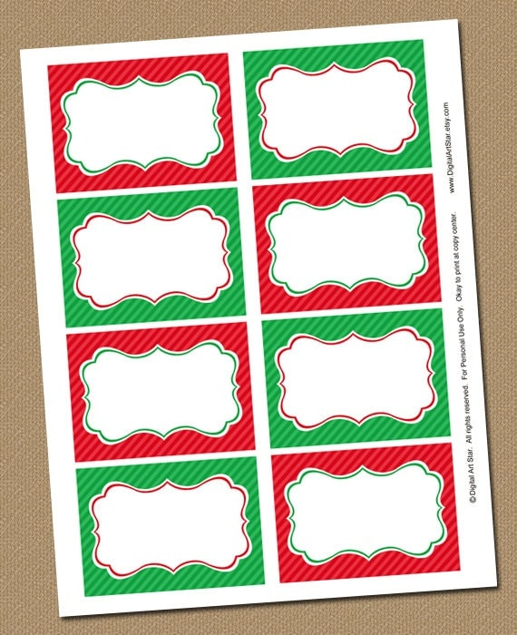 Christmas Buffet Cards, Labels, Place Cards, Food Labels - Printable ...