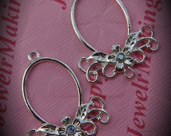 Genuine Silver Plated Swarovski Crystal Oval Chandelier Earrings In Light Sapphire AB
