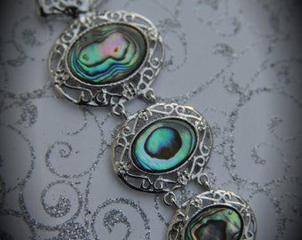 Huge Genuine Silver Plated Abalone Ovals Pendant
