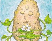 """Art Print, Original Drawing, Artwork Print, Watercolor, """"Meditater"""" Meditation, Gardening, Humor, Potato Vine"""