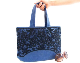 Leather Tote Bag, Lace bag, Victorian Bag, Imitation leather, Dark blue, Purse