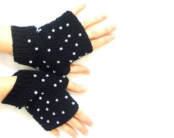 Beaded gloves, Fingerless gloves, Hand knit, Black, Boho knit glove mittens, Knit gloves mittens, Black and white,  Mothers day gifts