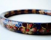 Vintage Flower Bracelet - Japanese Blossom - Cloissone Style - Bangle Bracelet