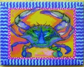 Blue Crab painting , Giclee on canvas by Kim McCoy