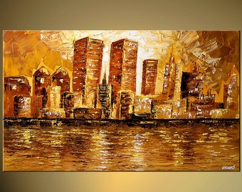 """City PRINT on canvas Modern Giclee Embellished and Ready to Hang, Art by Osnat - 40""""x24"""""""
