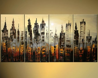 "Downtown Painting Modern Acrylic Abstract Painting The City by Osnat 60"" x 30"" Enormous- MADE-TO-ORDER"