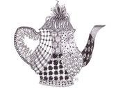 Teapot illustrated greetings card