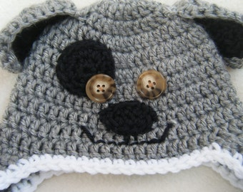 Gray and Black Crocheted Puppy Dog Baby Beanie - MADE TO ORDER - Handmade By Me