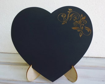 Engraved CHALKBOARD with StAND EASEL PHOTo PROP Heart Chalk Board for Rustic Wedding Decor or Engagement or Wedding Photobooth Props