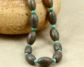 Copper Bead and Turquoise Necklace, Strand Necklace, Greek Antiqued Copper Beads