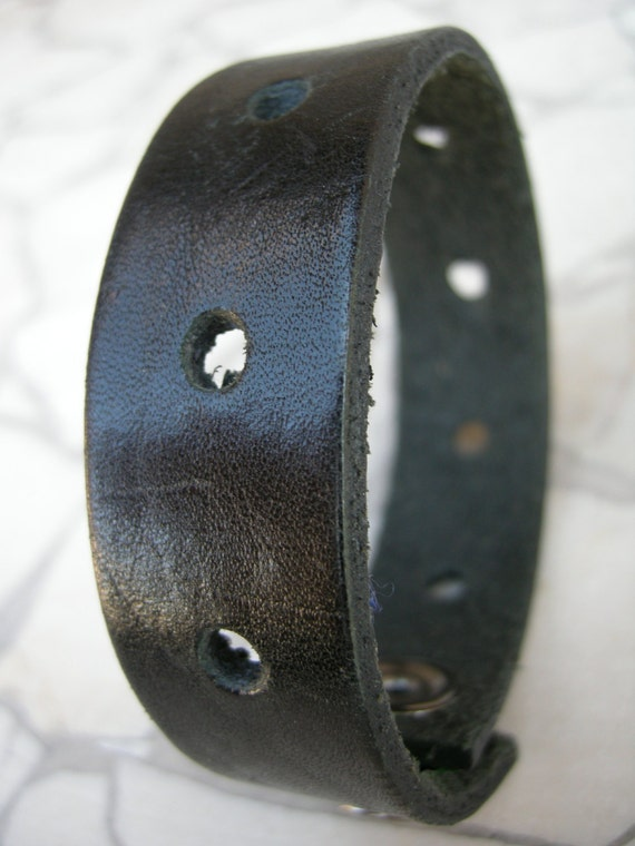Mens Leather Wristband Black Recycled Bracelet Reclaimed Cuff with Snap BLK-54-1