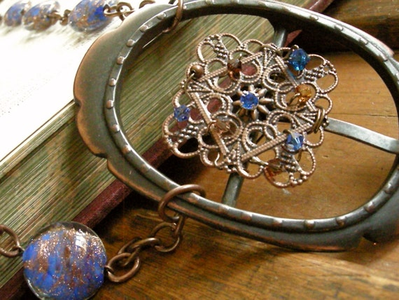 Copper Wire Wrapped Belt Buckle Necklace with Blue Beads and Swarovski Crystals