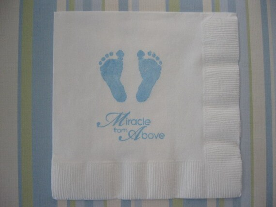 50 baby feet paper napkins baptism decorations baby girl for Baby dedication decoration