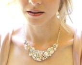 Ivory and Light Gold Statement Necklace- Pearl Bib Necklace- Bridal Jewelry-Rhinestones & Pearls-Bridesmaid Necklace-Bridal Bib-Brass Boheme