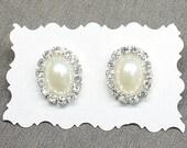 Pearl and Rhinestone Stud Earrings- Bridesmaid Earrings- Bridal Statement Studs- Bridal Earrings-Pearl Bridal Earrings- Brass Boheme