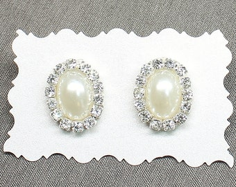 Bridal Statement Studs- Pearl Stud Earrings- Bridesmaid Earrings- Bridal Earrings-Pearl Bridal Earrings-Rhinestone Post Earrings-Pearl Studs