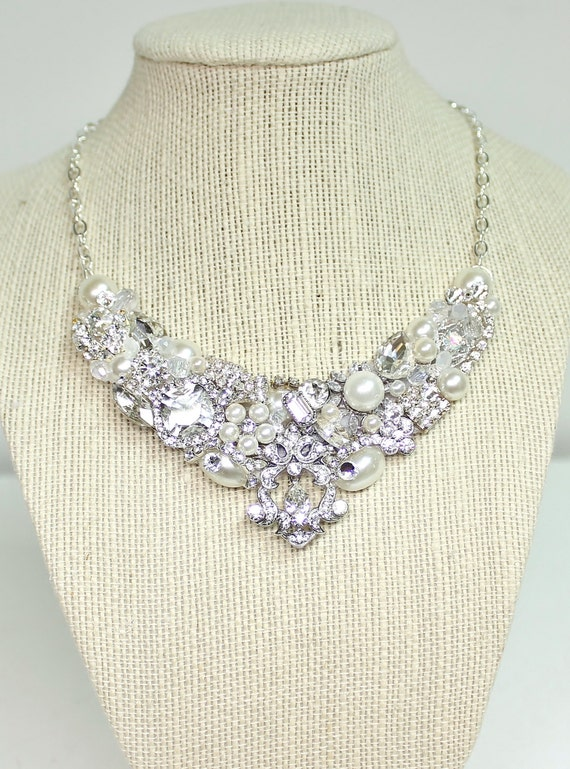 Rhinestone Bridal Statement Necklace-Rhinestone & Pearl Bridal Necklace-Wedding Necklace-Swarovski Necklace-Bridal Bib-Rhinestone Bridal Bib