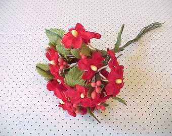 Pretty Little Vintage Bouquet of Crimson Red Millinery Flowers