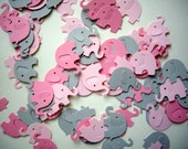 100 elephant punches, paper elephants, pink elephants, baby shower, embellishment, elephant confetti, decoration