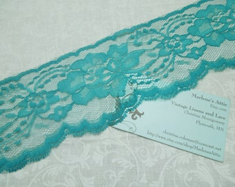 1 yard of 3 inch Teal Green chantilly lace trim for bridal, baby, lingerie, home decor by MarlenesAttic - Item CC2
