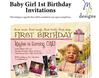 Baby's 1st Birthday Invitation - 5x7 printable