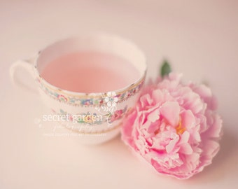 flower peony teacup photo print - whimsical fine art nature photography, flowers, stilllfe, wall art, floral, pink, pastels, pretty