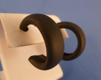 Solid Black Hoop Pierced Earrings