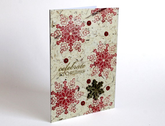 Snowflake Christmas Card SET of 5 Handmade Holiday Greeting Cards with Snowflake in Red and Gold