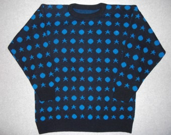 Amazing 80s 90s Hipster Blue Stars Circles Shapes Sweater Tacky Gaudy Ugly Christmas Party X-Mas Winter Warm Holiday 1980s S Small M Medium