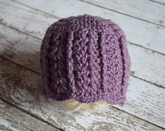 Crocheted Purple Shell Stitch Vintage Look Hat Photo Prop 0-3 Months