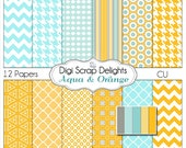 Aqua & Orange Digital Scrapbook Paper Backgrounds,Turquoise Blue, Quatrefoil, Chevron, Houndstooth Instant Download