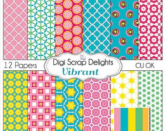 Vibrant Digital Scrapbook Paper for scrapbooking, card making, photographers, photo cards, Instant Download
