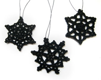 Black Lace Ornaments, Set of 3 - Modern Alternative Christmas Wedding Decor Crochet Snowflake Gothic Elegant Halloween