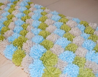 Blue beige green Pom Poms Bath Mat, Bathroom Rug,doormat,pet mat, 2013 trends