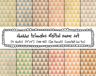 tribal triangles digital paper, shabby pastel vintage colors, grunge texture, digital photography backgrounds, instant download 553